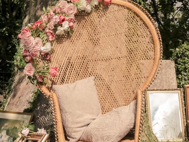 tipi peacock chair outdoor wedding