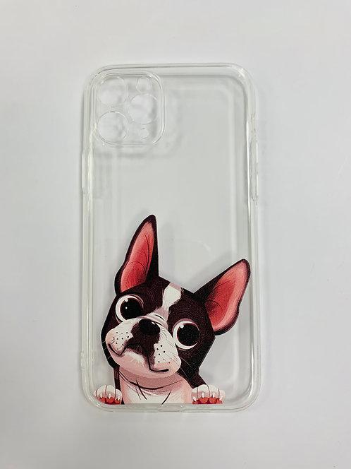 Силиконовый чехол для iPhone 11 Pro прозрачный c мопсом
