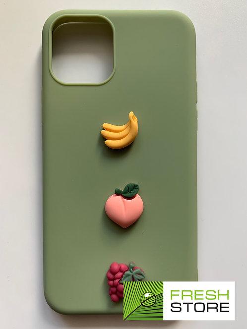 Защитный чехол для iPhone 11 pro с полной защитой зеленый с фруктами