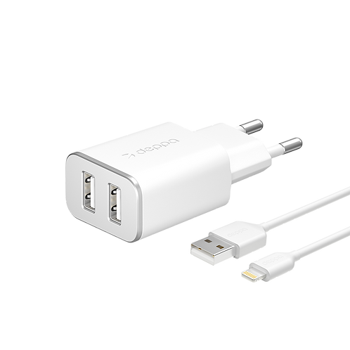 Сетевое зарядное устройство 2 USB 2.4А, дата-кабель 8-pin для Apple, MFI