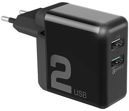 Зарядное устройство Rock Space T13 Dual Port QC3.0 Travel Charger black