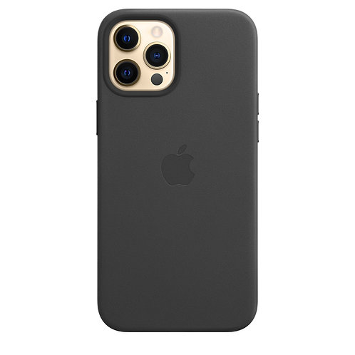 Кожаный чехол MagSafe для iPhone 12 Pro Max, чёрный цвет