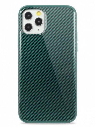 Чехол для iPhone 11Pro Glossy carbone (Зеленый)