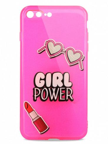 Чехол для iPhone 7+/8+ Pink mood силикон (Girl Power)