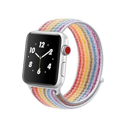 Ремешок из плетёного нейлона для Apple Watch 38/40mm радуга