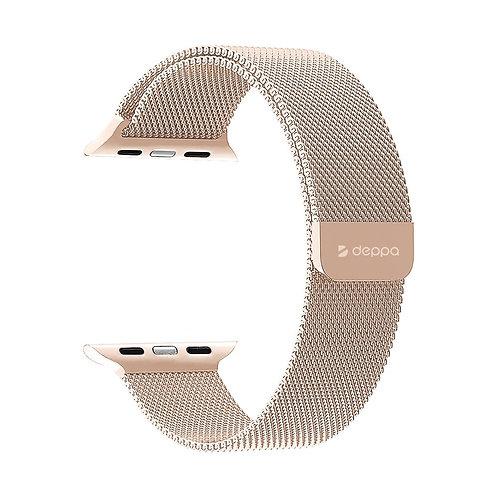 Ремешок Band Mesh для Apple Watch 38/40 mm, нержавеющая сталь Розовое золо