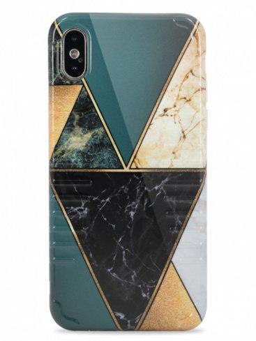 Чехол для iPhone X/XS Marble tiles силикон (Зеленый)