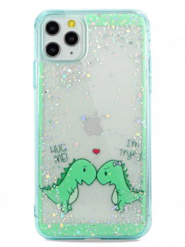 Чехол для iPhone 11Pro Dino love силикон+гель (Зеленый)