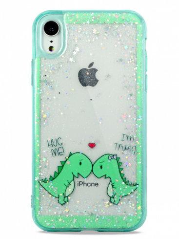 Чехол для iPhone XR Dino love силикон+гель (Зеленый)