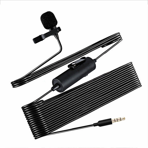Микрофон петличный с усилителем, Jack 3,5 4pin, черный.