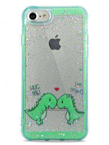 Чехол для iPhone 6/7/8 Dino love силикон+гель (Зеленый)