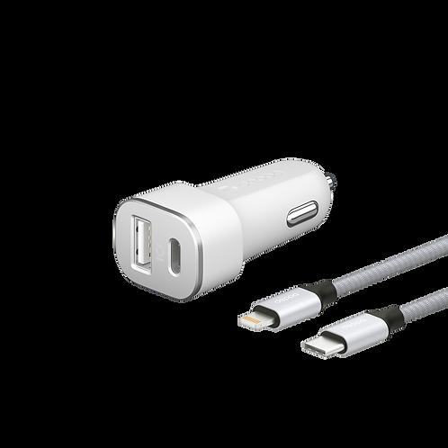 Автомобильное зарядное устройство USB Type-C + USB A, PD 18W, QC 3.0 Дата-кабель
