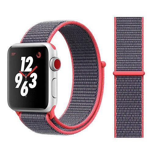 Ремешок из плетёного нейлона для Apple Watch 42/44mm серо-розовый цвет
