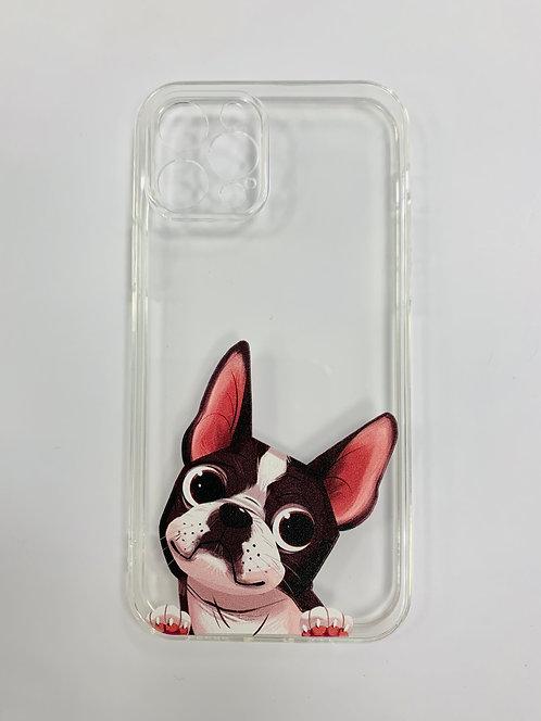Чехол для iPhone 12 pro  прозрачный с мопсом