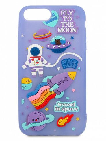 Чехол для iPhone 7+/8+ Space резина (Сиреневый)