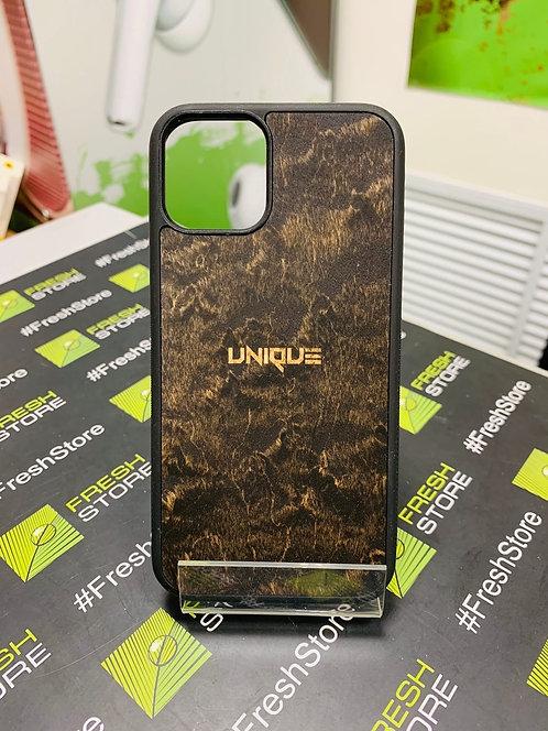 Чехол UNIQUE для iPhone 11 Pro с накладкой из натурального дерева