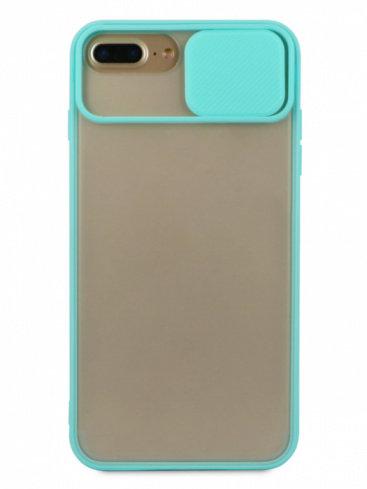 Чехол для iPhone 6+/7+/8+ Color camera protection силикон (Бирюзовый)