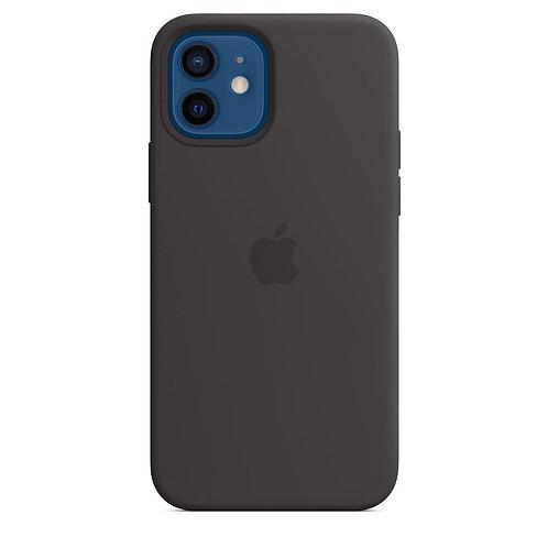 Силиконовый чехол MagSafe для iPhone 12, чёрный цвет