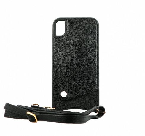 Чехол для iPhone XR Diva кожа (Черный)