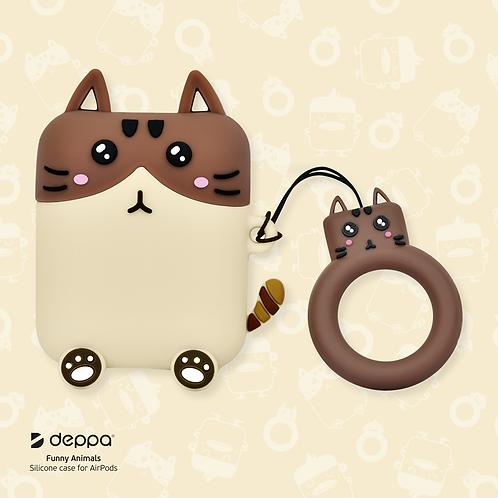 Силиконовый чехол Funny Animals для AirPods 1/2, кот