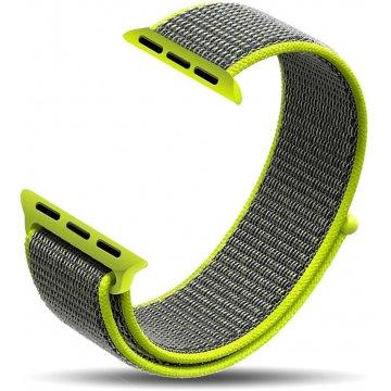 Ремешок из плетёного нейлона для Apple Watch 38/40mm серо-салатовый цвет