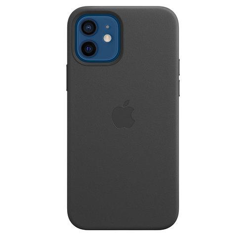 Кожаный чехол MagSafe для iPhone 12, чёрный цвет