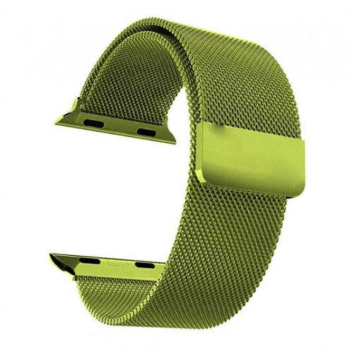 Ремешок миланское плетение для Apple Watch 42/44mm (зеленый металик)