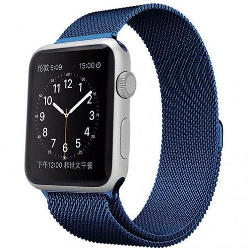 Ремешок миланское плетение для Apple Watch 42/44mm (синий металик)