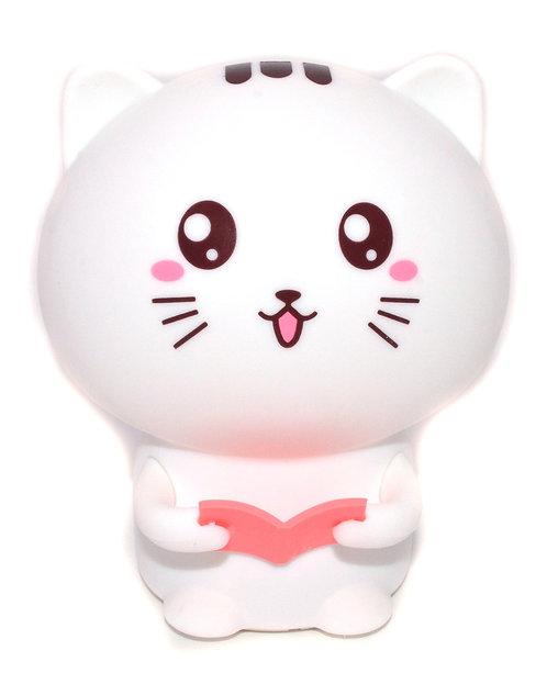 Ночник-светильник котик с розовой книжкой, силиконовый