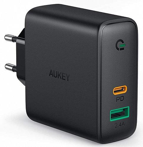 Сетевое зарядное устройство Aukey Dual-Port 60W PD Wall Charger with Dynamic Det