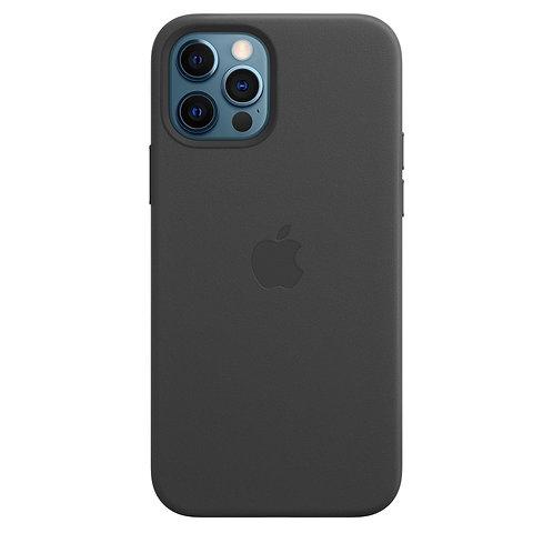 Кожаный чехол MagSafe для iPhone 12 Pro, чёрный цвет