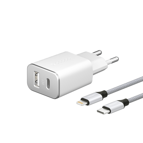 СЗУ USB Type-C + USB A, PD 18W, QC 3.0 Дата-кабель USB-C – Lightning, MFI