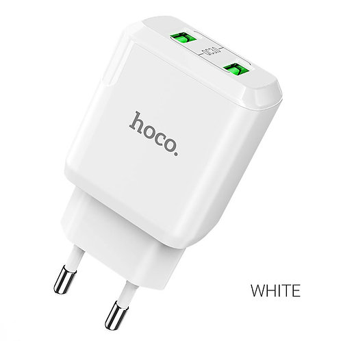СЗУ на 2 USB N6 QC3.0 HOCO белый