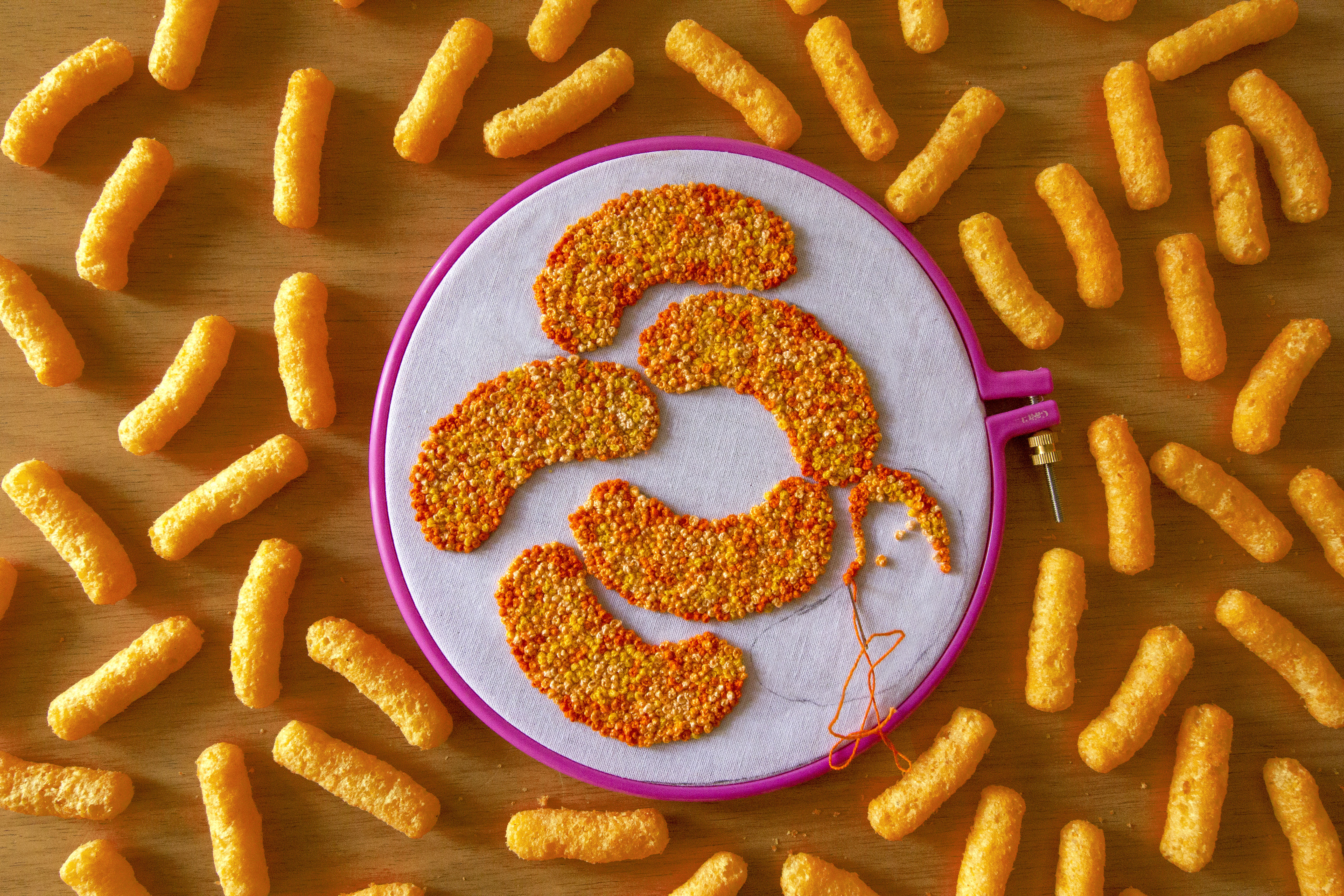 Textile art for Cheetos