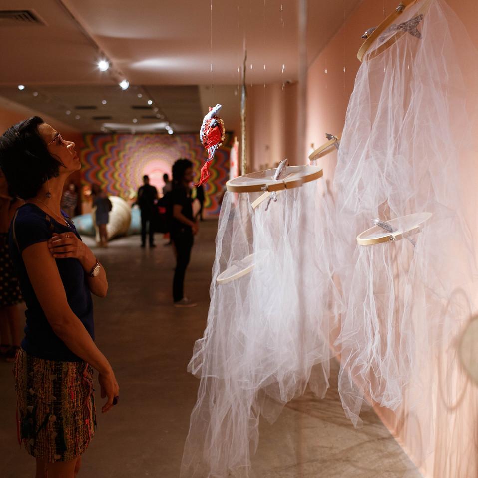 Textile art installation at Caixa Cultural Brasília
