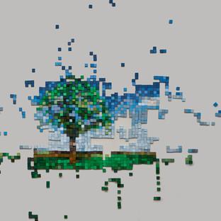 "Installation ""pixel as a deconstruction"""
