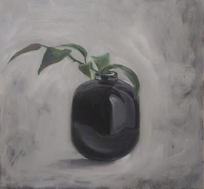 black vase with twig/1