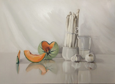 still life with melon and asparagus/reserved