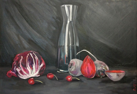 still life with radicchio and cherries