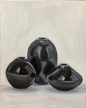 still life with three black vase