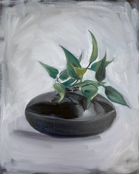 black vase with twig /2