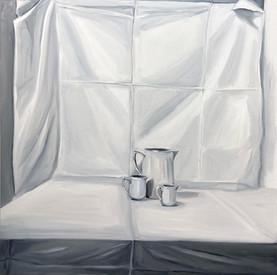 still life with three white vase