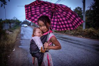Laos - The girl with the umbrella