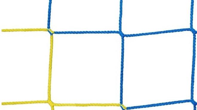 Ballfangnetz für Fußball aus PP - knotenlos - hochfest - 4,0 mm Stärke - 120 mm Maschenweite - gelb/blau gestreift