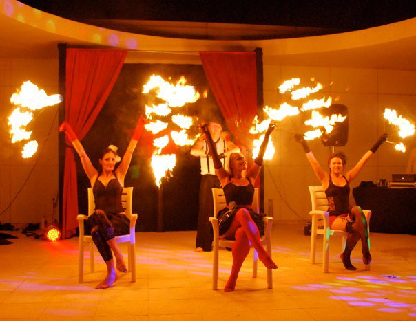 4 fire dancers