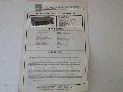 MM MYV435 435MHz ATV TRANSMITTER MANUAL