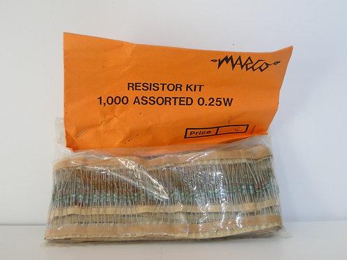MARCO Resistor KIT 1,000 assorted 0.25 unopened