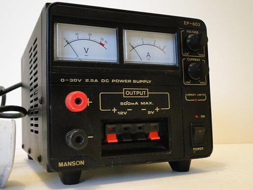 MANSON 0-30V 2.5A DC POWER SUPPLY EP-603