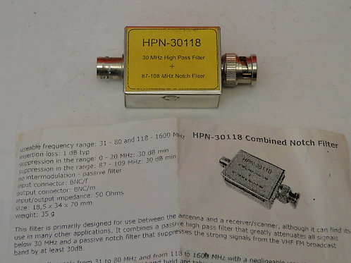 HPN-30118 COMBINED NOTCH FILTER