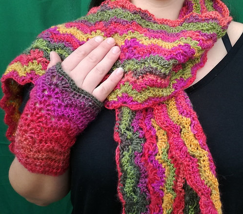 Riot Waves Crochet Scarf & Mitts